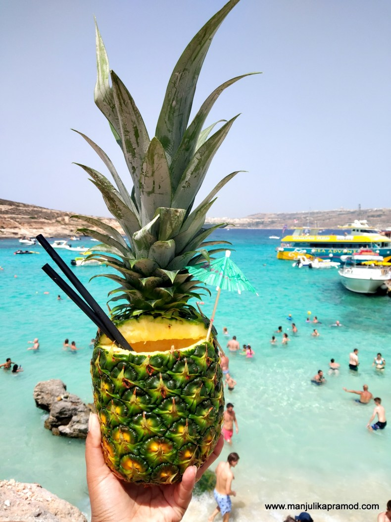 The signature pineapple drink on the Comino Island!