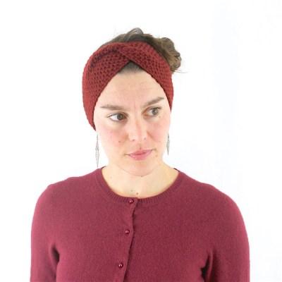 Gestricktes Stirnband aus Wolle und Kaschmir, rostfarbe