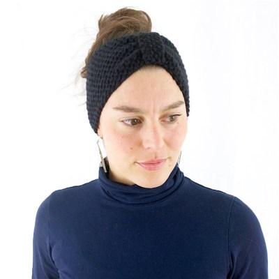 Gestricktes Stirnband aus Wolle und Kaschmir, schwarz