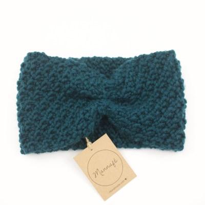 Bandeau tricoté en laine mérinos, vert canard