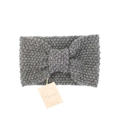 Gestricktes Stirnband aus Merinowolle, grau