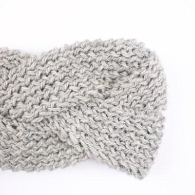 Bandeau tressé, tricoté en laine mérinos, gris clair et argenté