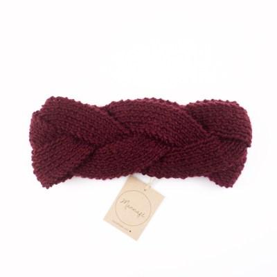 Zopf – gestricktes Stirnband, aus Merinowolle, bordeauxrot