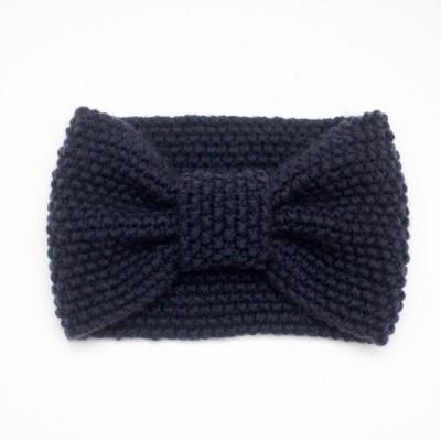 Gestricktes Stirnband aus Merinowolle, dunkelblau