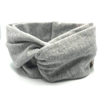 Bandeau twisté, en tissu tricoté, laine et cachemire, gris