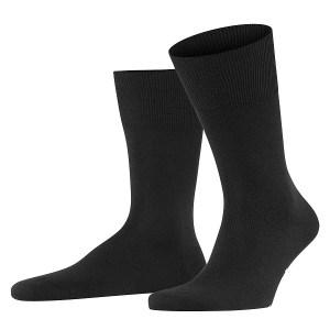 Zwarte heren sokken van wol en katoen.