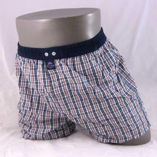 Roze, blauwe en kaky geruite boxershort van het merk McAlson.