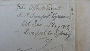 Jack Revitt's inscription on flyleaf.