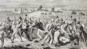 A wood engraving from 1868 captures the moment of the attempted assassination on Clontarf Beach.