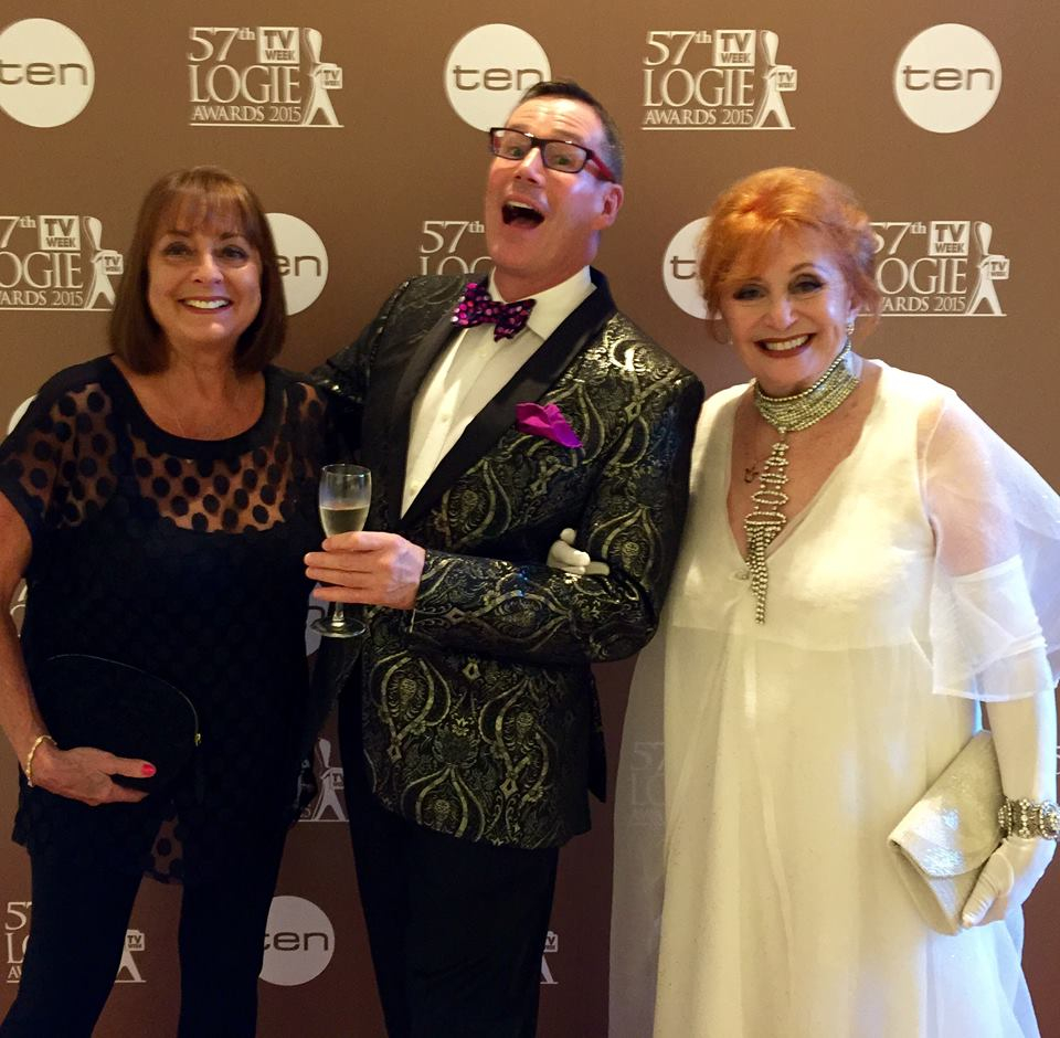 Hazel at the 2015 Logies with Denise Drysdale and entertainment reporter, Craig Bennett.
