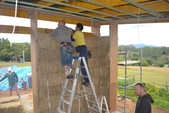 Installing strawbale walls
