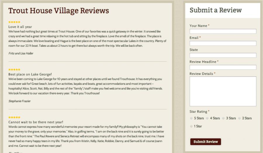 Trouthouse Resort Website Guest Reviews screen shot of website design