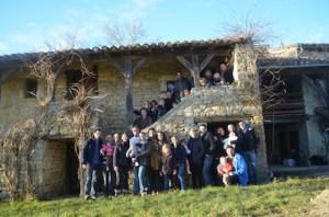 Les membres de la banda Lous Papalounes réunis au grand Gîte de La Gabertie