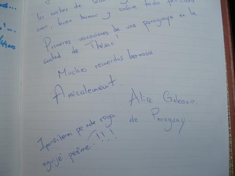 Appréciation de notre première visiteuse du Paraguay