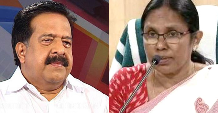 Image result for ramesh chennithala AND SHAILAJA TEACHER