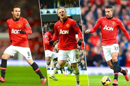 Mata, Rooney y Van Persie serán el tridente ofensivo de Van Gaal. Foto: bleacherreport.com