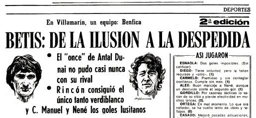 Vuelve el Eurobetis (I) Partido en Sevilla ABC 30-09-1982