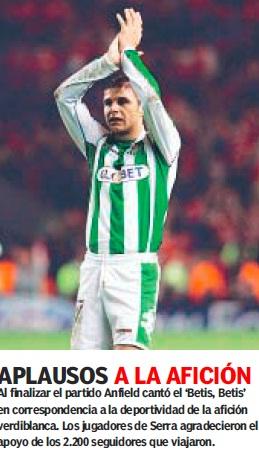 Liverpool-Betis 24-11-2005 Aplausos a la afición (NMP)