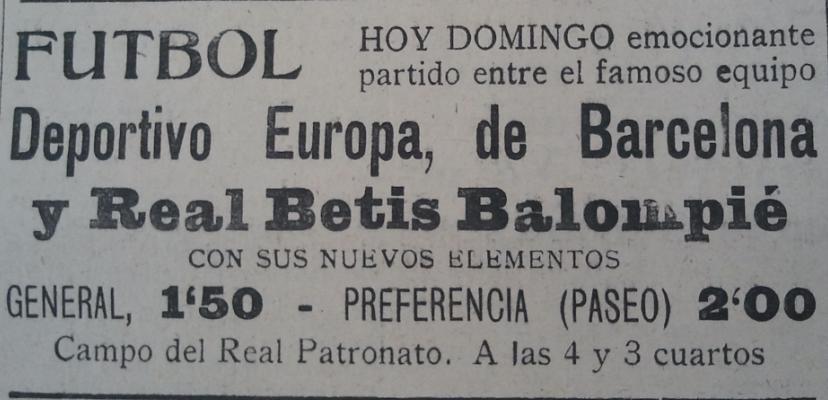 Anuncio del partido aparecido en La Unión 14 de septiembre de 1930