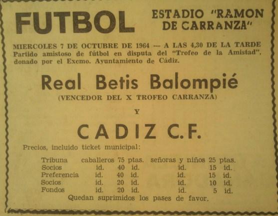Fuente: Diario de Cádiz 6 de octubre de 1964