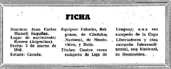 Figuras del Fútbol. Juan Carlos Mameli-ficha