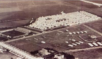 Vista aérea del Estadio de la Exposición y los Hotelites del Guadalquivir