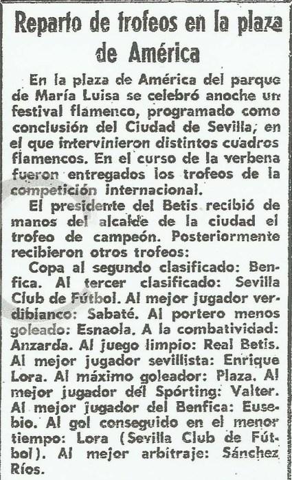 Reparto de Trofeos 1974