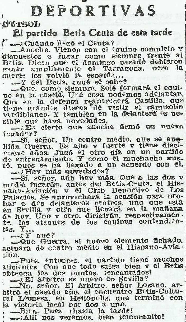 DEPORTIVAS-FÚTBOL-EL PARTIDO BETIS-CEUTA DE ESTA TARDE.-abc-se-19451028.