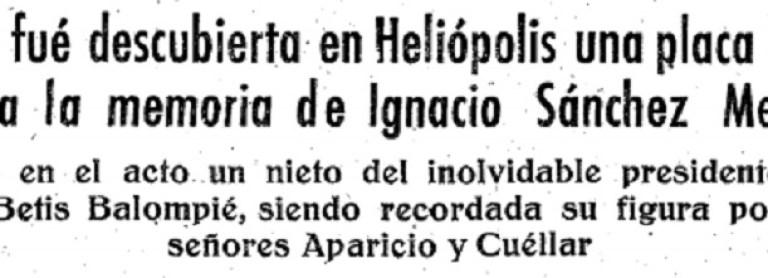Hoy hace 62 años. Placa en Heliópolis en homenaje a Ignacio Sánchez Mejías.