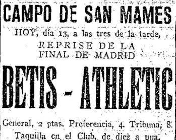 Hoy hace 88 años. Athletic 5 Betis 1.