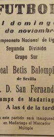 Anuncio San Fernando-Betis Liga 1954