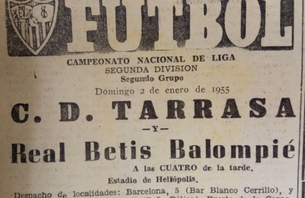 Anuncio Betis-Tarrasa Liga 1955