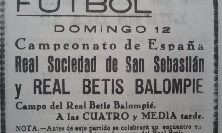 Hoy hace 90 años. Victoria 5-1 en el Patronato en Copa frente a la Real Sociedad.