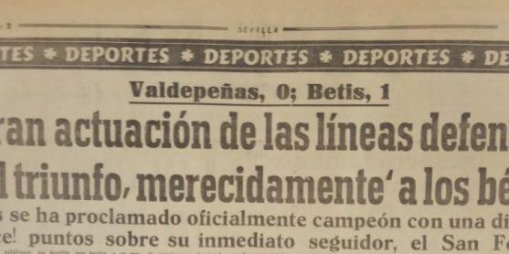 Hoy hace 66 años. Valdepeñas 0 Betis 1.