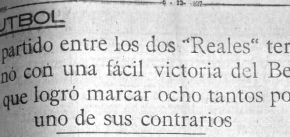 Hoy hace 92 años. Betis 8 Real Málaga 1.