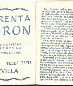 ¡¡Aupa Betis¡¡ Calendario deportivo.-Real Betis Balompié-Temporada 1953-1954 3D-Grupo 6.-Recortes.