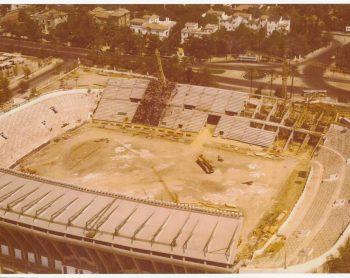 Construcción de la Tribuna de Fondo 1980