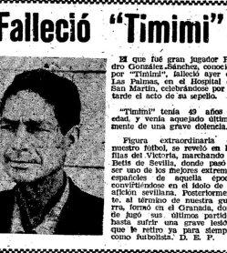 "Hoy hace 60 años. Fallece Pedro González ""Timimi""."