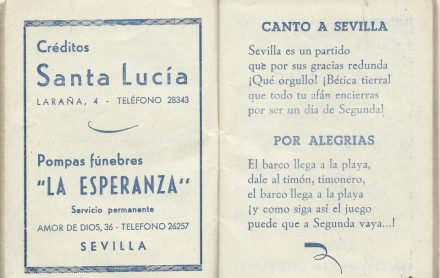 ¡¡Aupa Betis¡¡ Calendario Deportivo1953-1954.-3DGrupo6.-Canto a Sevilla por Alegrías.