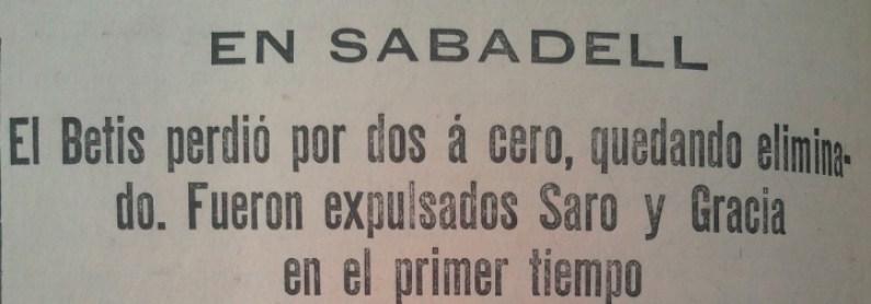 Hoy hace 85 años. Sabadell 2 Betis 0 en Copa.