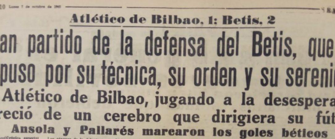 Hoy hace 57 años. Athletic 1 Betis 2.