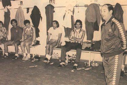 Luis Carriega en el vestuario 1985