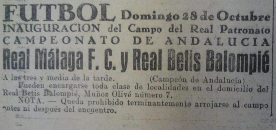 Hoy hace 92 años. Betis 4 Real Málaga 0.