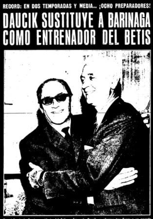 Hoy hace 52 años. Fernando Daucik suple a Sabino Barinaga en el banquillo.