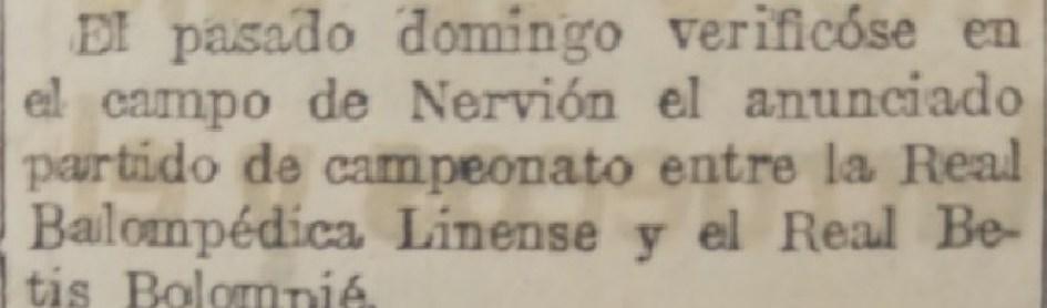 Hoy hace 95 años. Betis 1 Balompédica Linense 0