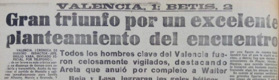 Hoy hace 60 años. Valencia 1 Betis 2.