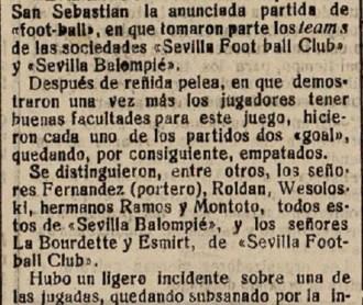 Hoy hace 110 años. Sevilla FC 2 Sevilla Balompié 2.