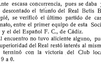 Hoy hace 100 años. Betis 9 Español FC 0.