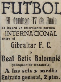 Betis-Gibraltar FC Amistoso 1928