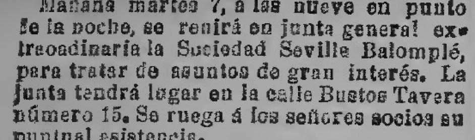 Hoy hace 110 años. Junta general del Sevilla Balompié.